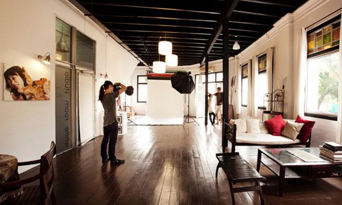 Indoor portrait photography session at White Room Studio Singapore
