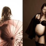 Maternity Photography Singapore boudoir semi-nude pregnancy pictures of expectant mother with umbrella and shawl