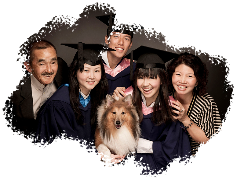 Convocation Graduation Photoshoot Singapore graduate candid family portraits with pet dog
