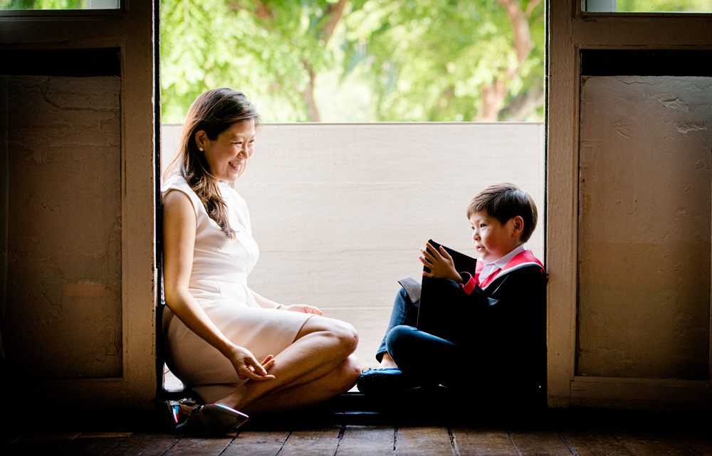 mum and son during a K2 kindergarten graduation photoshoot