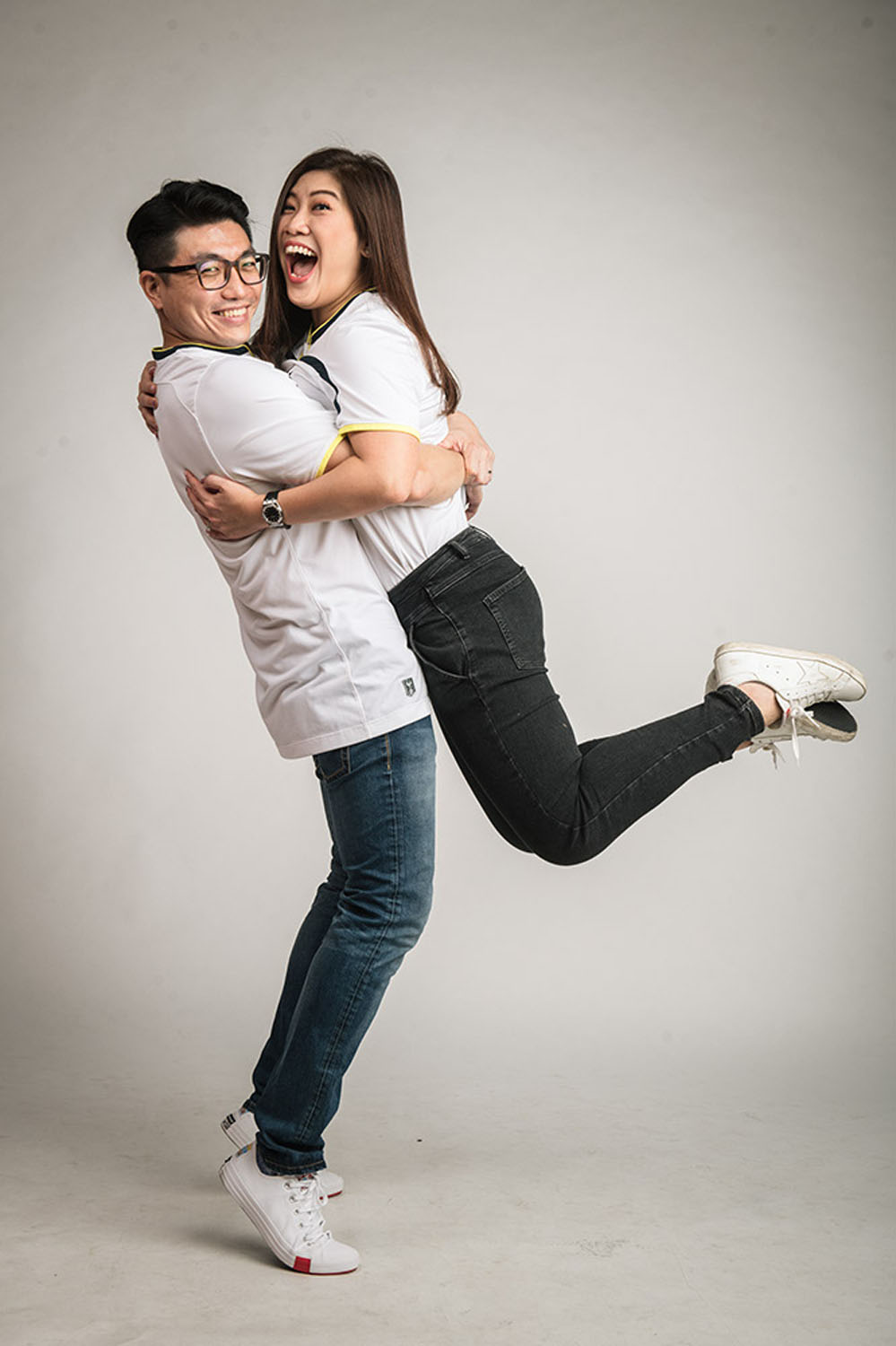 Couple Valentine Day photo shoot in a photography studio setting during a family photoshoot in Singapore, White Room Studio